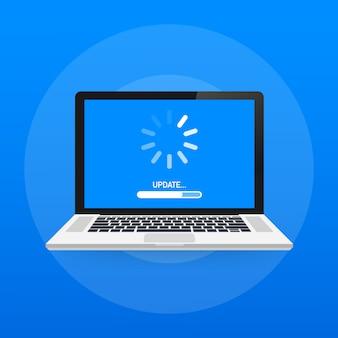 Aggiornamento del software di sistema, aggiornamento dei dati o sincronizzazione con la barra di avanzamento sullo schermo. illustrazione vettoriale