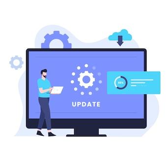Concetto di design dell'illustrazione dell'aggiornamento del software di sistema. illustrazione per siti web, landing page, applicazioni mobili, poster e banner