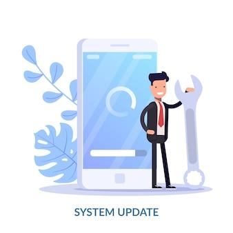 Concetto dell'illustrazione dell'aggiornamento di sistema. la gente del fumetto aggiorna il sistema operativo