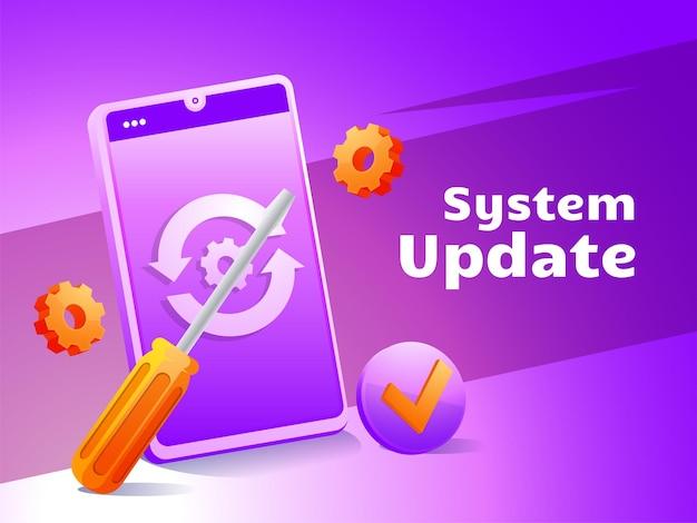Aggiornamento del sistema che aggiorna il telefono cellulare del sistema operativo con il simbolo del cacciavite