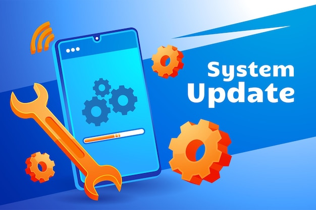 Aggiornamento del sistema che aggiorna il telefono cellulare del sistema operativo