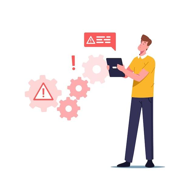 Errore di lavoro di sistema, sito web in costruzione, illustrazione di manutenzione della pagina 404