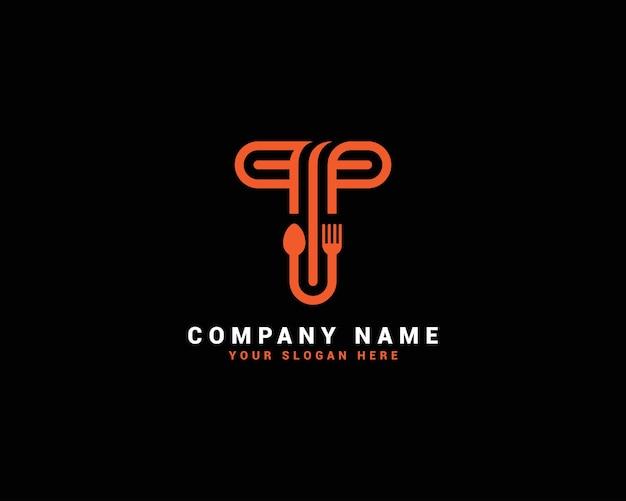 Logo della lettera di cibo t, logo della lettera del cucchiaio di t, set di logo della lettera di cibo, alfabeto del cibo