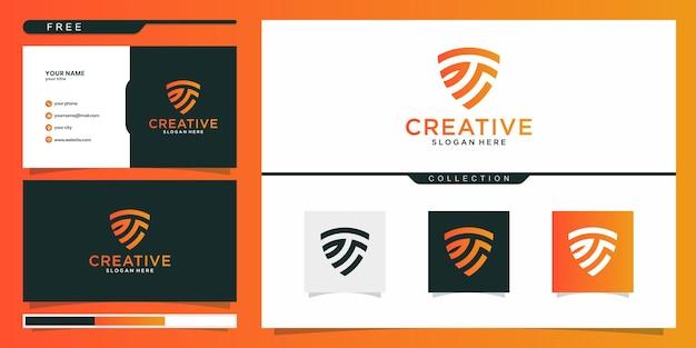 T iniziale scudo vettore logo design concept. design del logo e biglietto da visita