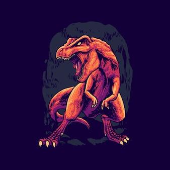 Illustrazione di dinosauri t rex