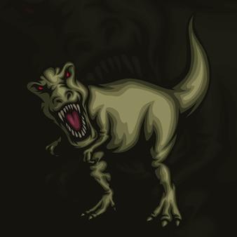 Illustrazione della mascotte di t rex esport