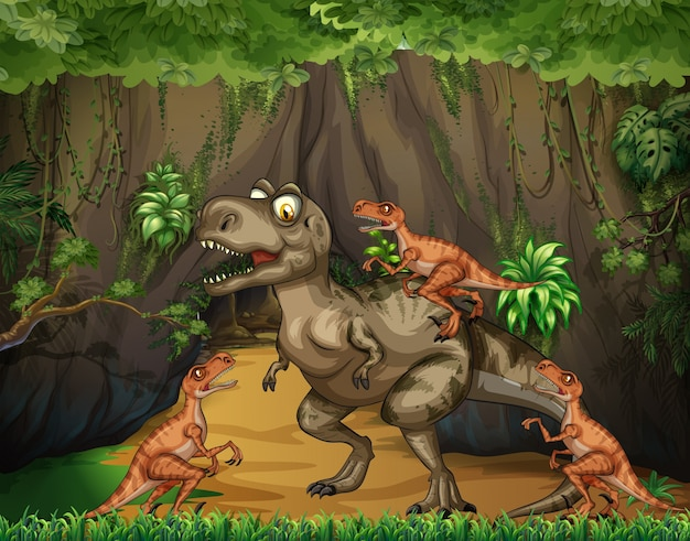 T-rex che combatte i rapaci nella foresta