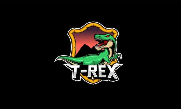 T rex mascotte logo illustrazione Vettore Premium