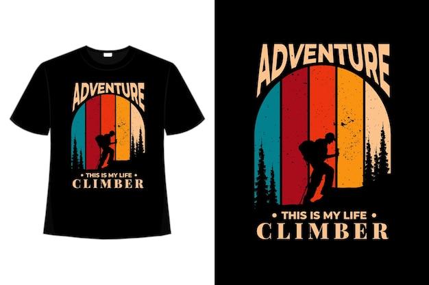 T-shirt avventura scalatore pino stile vintage