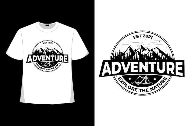T-shirt avventura esplora la natura vintage