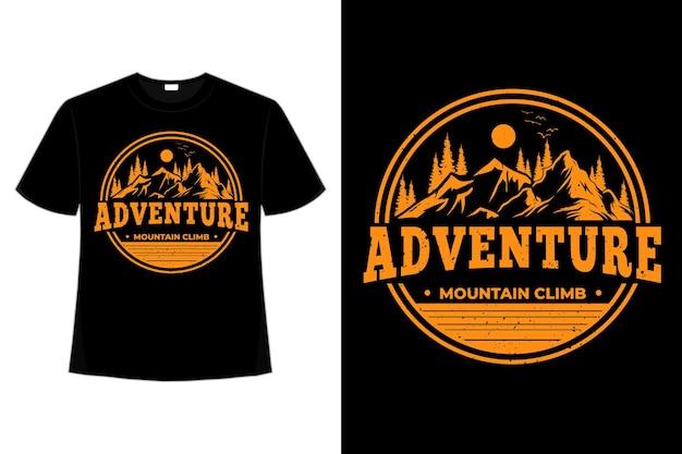 T-shirt avventura montagna arrampicata pino stile vintage