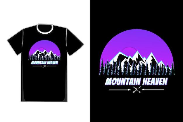 T-shirt estetica paesaggio montano albero stile retrò