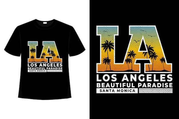 T-shirt bellissimo paradiso santa monica tramonto tipografia