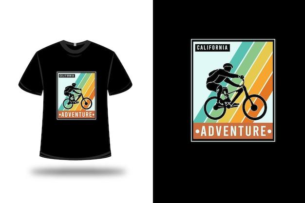 T-shirt california adventure colore arancio giallo e verde