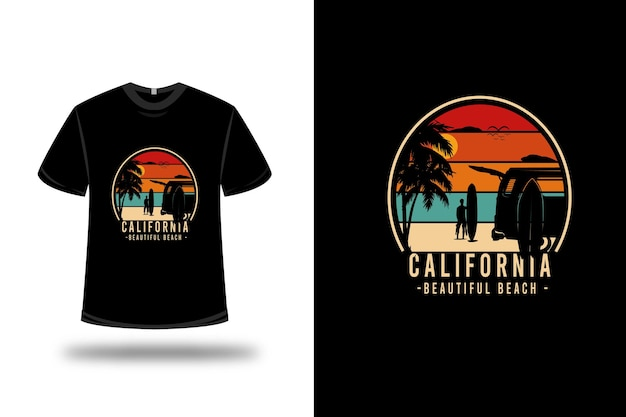 T-shirt california beautiful beach colore arancio verde e panna