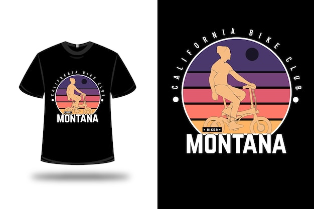 T-shirt california bike club montana colore viola arancio e rosso