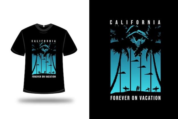 T-shirt california forever on vocation colore blu e nero