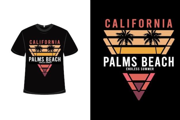 T-shirt california palms beach infinita estate colore arancio e giallo