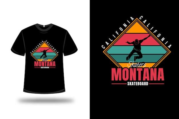 T-shirt california skaters montana skateboard colore giallo rosso e verde