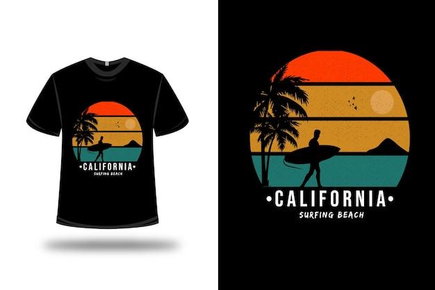 T-shirt california surf beach colore rosso arancio e verde