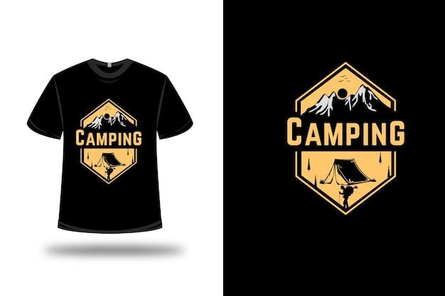 T-shirt da campeggio colore giallo chiaro
