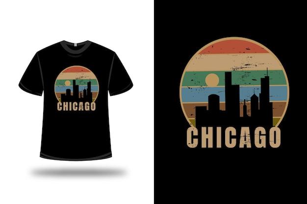T-shirt chicago city color arancio crema e verde