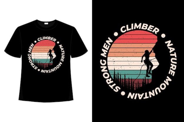 T-shirt scalatore natura montagna stile retrò