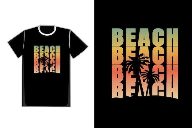 T-shirt albero di cocco spiaggia tramonto