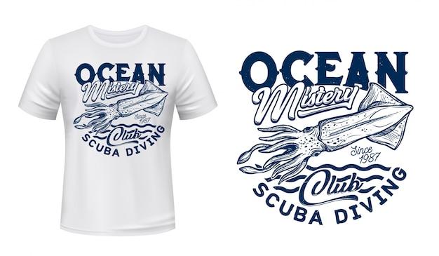 T-shirt stampa seppia, club di immersioni subacquee marine