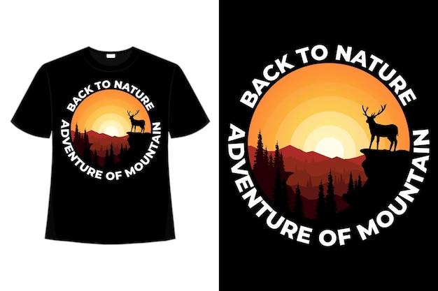 T-shirt design di avventura montagna natura cervi disegnati a mano stile retrò illustrazione vintage