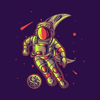 T-shirt design astronauta che gioca a calcio su una falce di luna sfondo illustrazione di calcio