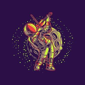 T-shirt design astronauta che suona il violino contro l'illustrazione di sfondo luna