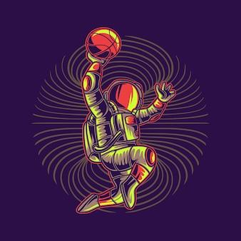 T shirt design astronauta gettando basket basket illustrazione