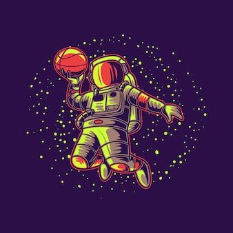 Astronauta di disegno della maglietta con l'illustrazione di pallacanestro del fondo della galassia