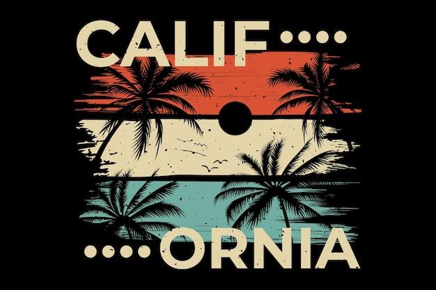 T-shirt design dell'estate della palma della spiaggia della california california