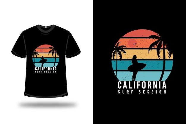 Design della maglietta. sessione di surf in california in arancione e verde