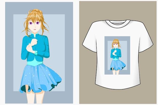 T-shirt design cartone animato carino principessa mockup