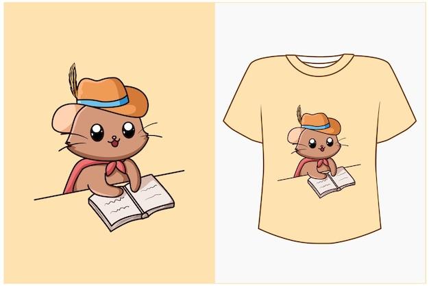 T shirt design gatto cartone animato libro di lettura carino e divertente