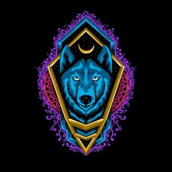 T shirt design colorato animale lupo con ornamento mandala illustrazione