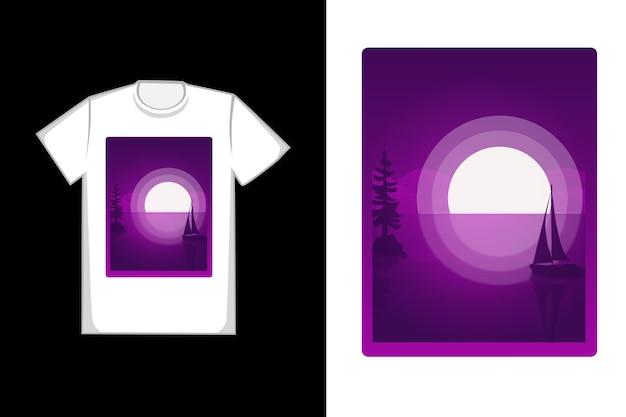 Disegno della mano di luna piena di design t-shirt