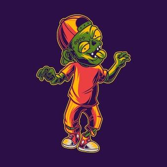 T-shirt design divertente zombie illustrazione a piedi