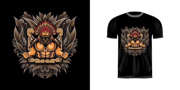 T-shirt design illustrazione guerriero
