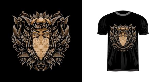 T-shirt design illustrazione donna gangster