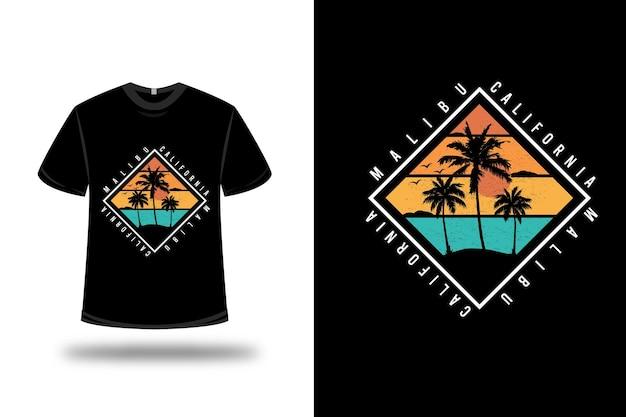 Design della maglietta. malibu california in arancione e verde