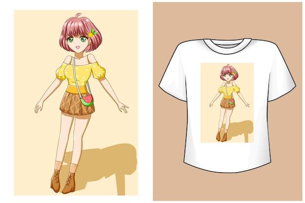 T shirt design mockup ragazza carina in estate fumetto illustrazione