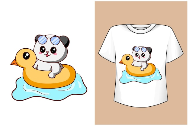 T shirt design mockup simpatico panda che nuota