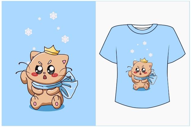 T shirt design mockup illustrazione di cartone animato gatto carino e carino