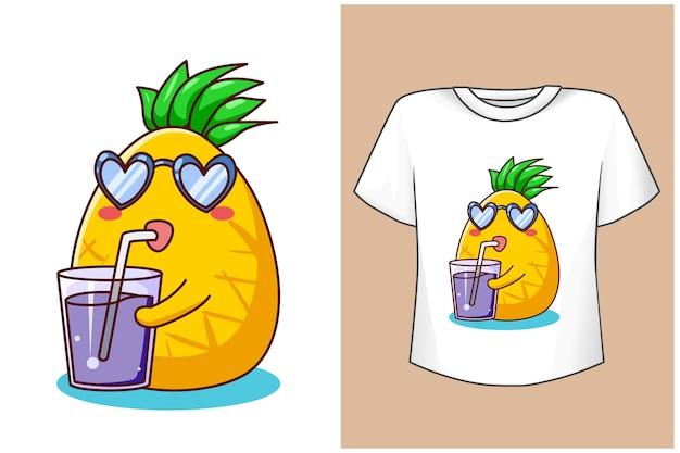 T shirt design mockup ananas con succo di cartone animato