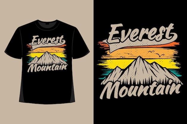 T-shirt design di montagna everest pennello albero tipografia illustrazione vintage retrò