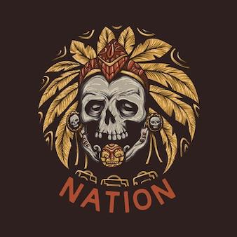 T-shirt design nazione con teschio del capo capo e sfondo marrone illustrazione vintage